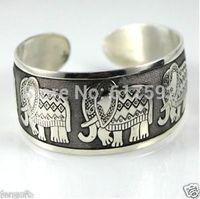 Thai Elephant Metal Tibetan Silver vintage retro Fashion Bracelet Cuff Bangle Free Shipping for her