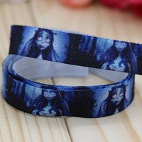 5/8'' Free shipping Fold Over Elastic FOE Corpse printed headband headwear hair band diy decoration wholesale OEM P2976