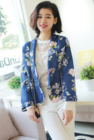 Autumn Women's Clothing Han edition printed satin lapels cultivate one's morality show thin small suit jacket /Blazer & Suits