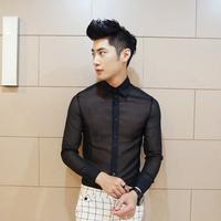 Free shipping! The latest mystery man Shige Te transparent chiffon sexy long-sleeved shirt