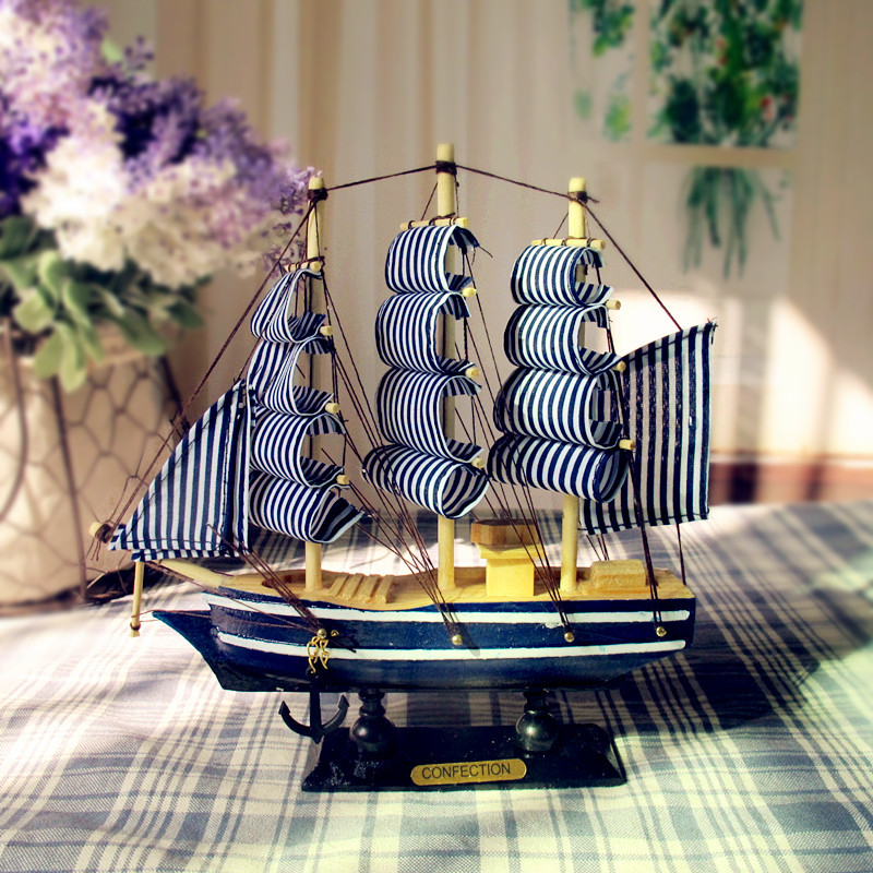 New!Mediterranean Style 20cm Wooden Sailing Ship Handmade Carved Model Boat Home Nautical Decoration Crafts Gift(China (Mainland))