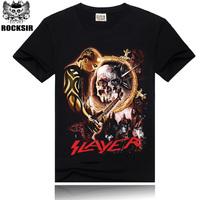 Free Shipping ROCKSIR 3d printing 2014 summer 100% Cotton rock band Slayer t shirt men