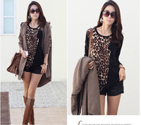 2014 leopard grain color matching in the round neck long sleeve long render unlined upper garment of long sleeve T-shirt F549