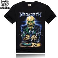Free Shipping ROCKSIR 3d printing 2014 summer 100% Cotton rock band MegaDeath t-shirt men