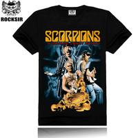 Free Shipping ROCKSIR 3d printing 2014 summer 100% Cotton rock band Scorpions t shirt men