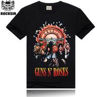 Free Shipping ROCKSIR 3d printing 2014 summer 100% Cotton rock band Guns N' Roses t shirt women
