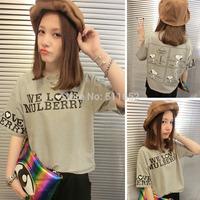 Wholesale! Summer 2014 plus size women's loose cotton short-sleeve t-shirt women's basic shirt tops free shipping