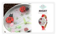 Cute Red Clay Ladybug Dress Watches Original Mini Brand Quartz Wristwatch Girl Students Favorite Gift Clock 30M Waterproof NW865