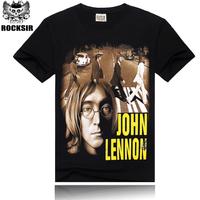 Free Shipping ROCKSIR 3d printing 2014 summer 100% Cotton rock band The Beatles John Lennon shirt women