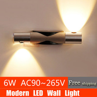 3 years warranty High quality 6W Led Wall Light  AC90~265V Warm White/Cool White all aluminium Wall Lamps FreeShipping
