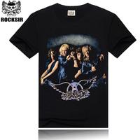 Free Shipping ROCKSIR 3d printing 2014 summer 100% Cotton rock band Aerosmith shirt men