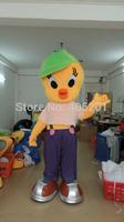 green hat chick mascot costumes yellow bird walking act