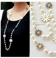 Long Chain White Daisy Flower Waterdrop Pearl linked fashion necklace pendants & necklaces lady women jewelry JZ171