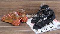 Free Shipping Wholesale 2014 Women's Fashion UK Brand Rivets Studs Ankle Wrap Flat Gladiator Sandals W/ Original UK Sz 3~8
