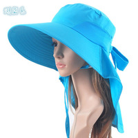 2014 Hot women UV block sports sun protective hat with backswing curtain outdoors quick dry beach cloak hiking sunbonnet hat