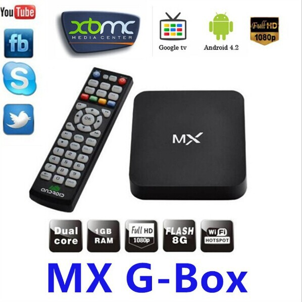 Free shipping, Original MX XBMC Midnight Android 4.2 Dual Core TV Box   WiFi Sports Adults XBMC Fully Loaded Google TV Box HDMI(China (Mainland))