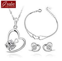 GS Brand Set-25 2014 love heart necklace &stud earrings& bracelet sterling silver swiss crystal platinum silver 925 jewelry sets