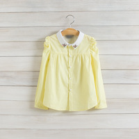 2014 New,girls casual blouses,children cotton shirts,long sleeve,hot drilling,white/yellow,2-8 yrs,5 pcs/lot, wholesale,1527