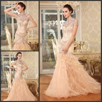 Chic Ostrich Feather Strapless Trumpet Mermaid Crystal Vestido Prom Celebrity Evening Formal Party Dress Bridal Gown(XNE-ED076)