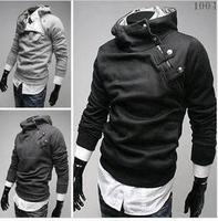 Hot sale Korean style oblique zipper design mens hoodies and sweatshirts, man thickening metal buckle fleece hoodies sweater
