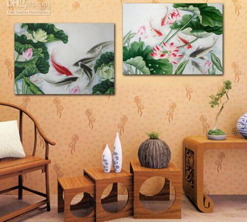 Online kopen wholesale koi vissen schilderijen uit china koi vissen schilderijen groothandel - Decoratie interieur trap schilderij ...
