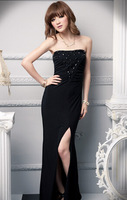 2014 new summer & autumn sweet sheath floor length off the shoulder long dress sexy evening  dresses wih diamonds hot sale