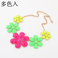 hot  2014 fahion jewelry women Bohemian  Fluorescent Flower Necklace  12pcs/lot