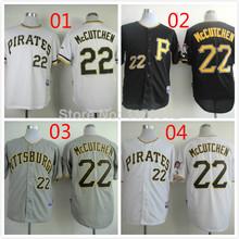 il trasporto libero nuovo , pittsburgh pirates jersey #22 andrew mccutchen jersey fredda base grigio bianco nero cucita(China (Mainland))