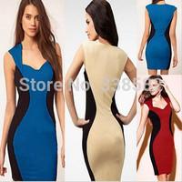 New Fashion 2014 Elegant Women Sleeveless Square Collar Knee-length Patchwork Bodycon Party Pencil Dresses