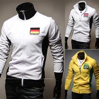 2014 National flag embroidery jackets,men slim-fitting sweater coat,man cardigan jacket,diamond supply co men motorcycle jackets