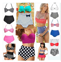 New Women Ladies Sexy Retro Push-up Pin Up Padded High Waist Bikini Swimsuit Beachwear Swimwear Bathing Suit Swim Suit