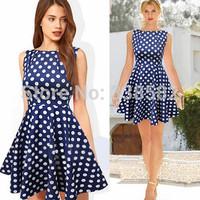 2014 New Fashion Polka Dot Bodycon  Slimming Boat Neck Sleeveless Dress Summer Tunic Style Mini Casual Dresses