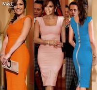 2014 Newest Women Elegant Summer Sleeveless Square Collar Back Full Zipper Bodycon Knee-Length Party Casual Pencil Dress LYQ-008