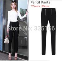 New Women Pencil Pants Candy Color Double Zipper Fashion Skinny Elastic Leggings Basic Trousers Cool S--5XL Plus Size  #JM06892