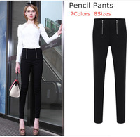 New Women Pencil Pants Candy Color Double Zipper Fashion Skinny Elastic Leggings Basic Trousers Cool S--5XL Plus Size  #JM06892