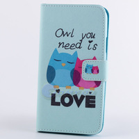 Fashion Leather Stand Card Wallet Pouch Flip Animal Tiger & Tower Case Cover For Samsung Galaxy Note 3 N9000 Flower & Bird