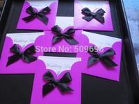 Rose pink color Wedding Invitations cards  with black ribbon 100Cards+ 100 Envelopes + 100 Seals IV001