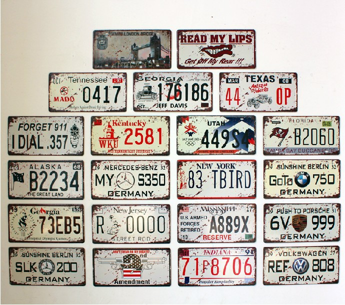 071357 cafe bar decoration do old restoring ancient ways car license plate number wall hangings free shipping(China (Mainland))