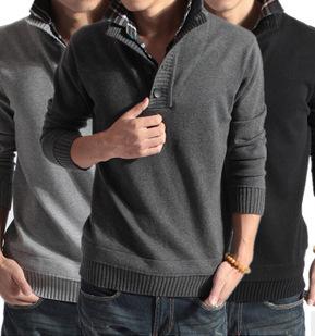 Mens Fashion New Casual Autumn Winter Sweater Mens Fake Two Slim Fit Turndown Collar knitting shirt Men Pullovers Sweater(China (Mainland))