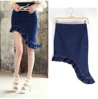 2014 New Fashion Ruffle Female Denim Dovetail Step Skirt Midguts Slim Hip Skirts