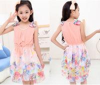 Fashion Summer Girls Floral Bow Dresses Children Sleeveless Suspender Flowers Pearl Chiffon Princess Dress Pink Blue Yellow