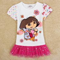 Children Girl dress New 2014 Summer Short Sleeve Cotton dress Dora Child Fashion dress With Paillette For Girls