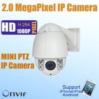 Mini 2 Mega pixel IP PTZ Camera 10x Optical zoom, 50m IR distance, Outdoor Waterproof High speed Dome camera