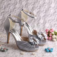 Custom Handmade 2014 Ankle Strap Sandal Heeled Women Satin Silver Wedding Bridal Sandals Bowtie