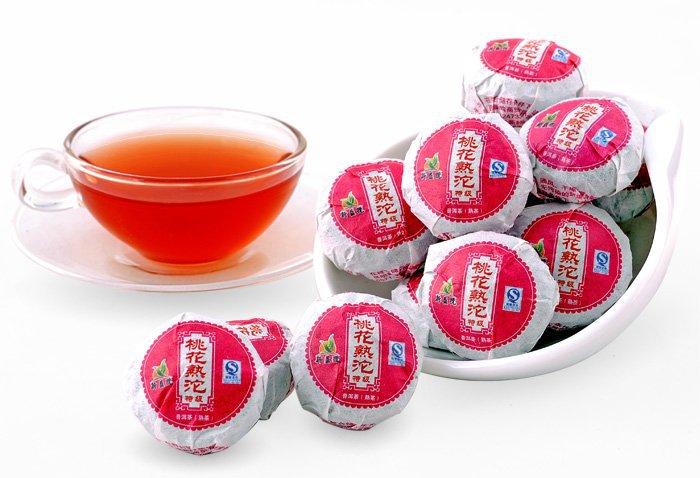 42pcs Peach Flower puerh tea Ripe Pu er tuo cha PT15 Free Shipping