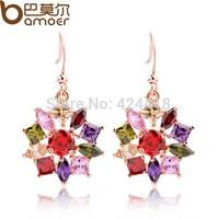 Bamoer 18K Gold Plated Star  Earrings with Multicolor Zircon For Women Luxury Anniversary Bijouterie