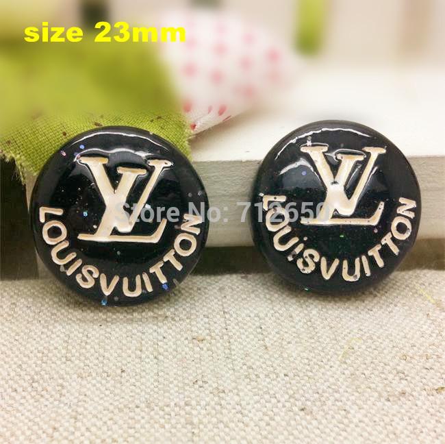 Free shipping 10 pcs/lot brand logo black flat back resins button cartoon DIY handmade materials Hairbow and Phone decorations(China (Mainland))