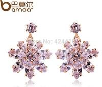 Bamoer Luxury Champagne Gold Flower Stud Earrings with Zircon Stone