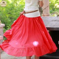 Free Shipping! 2014 Summer New Fashion Women Elegant Slim Elastic Waist Pleated Ruffles Hem Rose Red Flowing Long Skirt D0886#