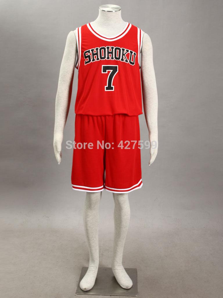 Free UPS Shipping Slam Dunk Ryota Miyagi Shohoku High School Uniform Red Cosplay Costume Basketball Jersey Halloween Costumes(China (Mainland))